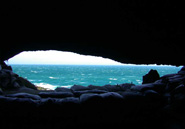The Indian Ocean view from inside Blombos Cave. Blombos Cave Project