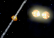 The leading models for gamma-ray bursts: jets of energy ejecting from a black hole (L) and the explosion of merging neutron stars (R). AMNH
