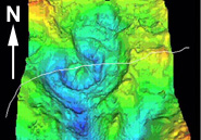 A 3-D geophysical map of the now-buried Chicxulub Crater. The white line is the shoreline between the Yucatan Peninsula and the Gulf of Mexico. V.L. Sharpton, LPI