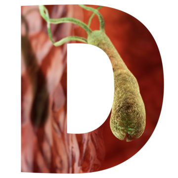 The letter D with an image of a microbe inside.