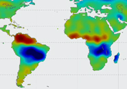 GRACE's data show the areas that are wetter than usual (blue) and drier than usual (red). NASA/DLR