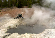 Yellowstone Volcano Observatory scientist-in-charge Jake Lowenstern captures gases rising from a thermal feature at Norris Geyser Basin. David Rasmussen