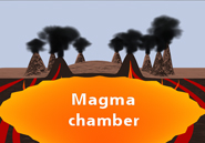 Each of the three largest eruptions of Yellowstone's magma chamber resulted in the collapse of the chamber's roof rock, resulting in a circular caldera tens of kilometers wide. Arlene Ducao for AMNH