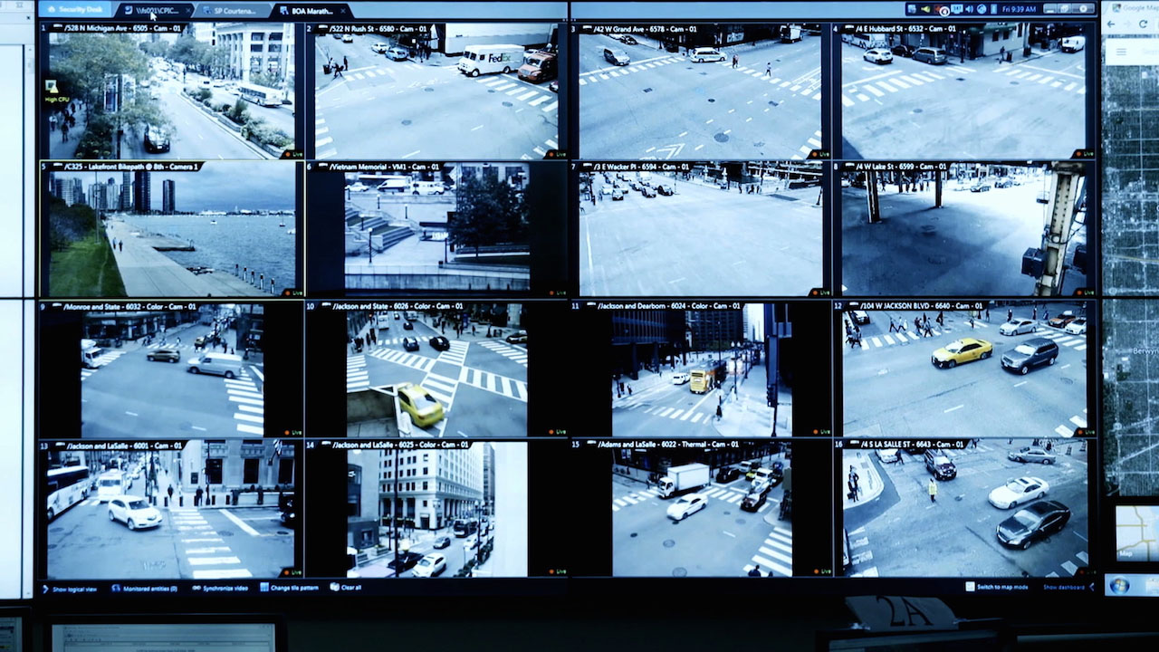 grid of tv screens showing security footage