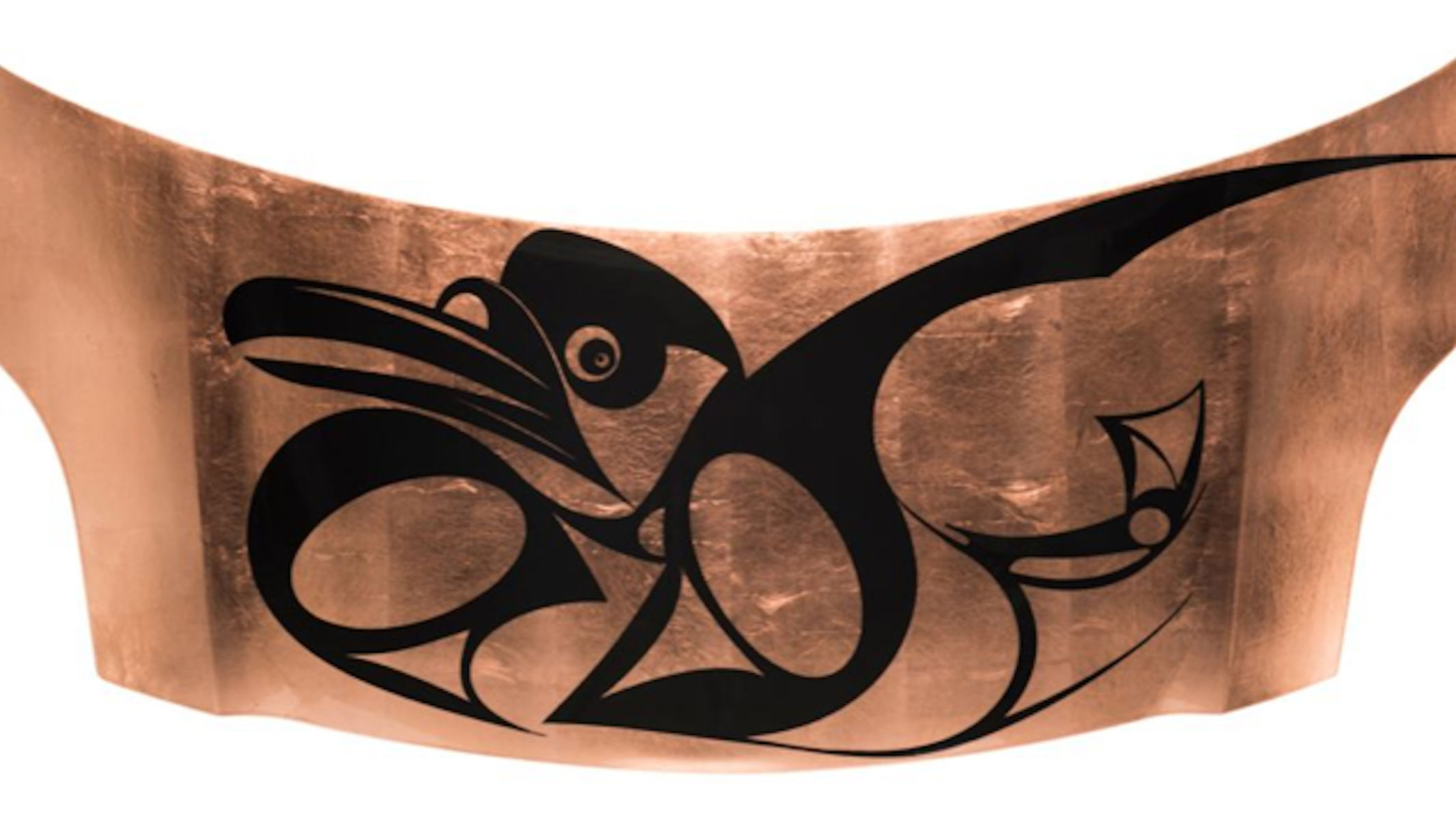 Copper card hood with tribal bird glyph