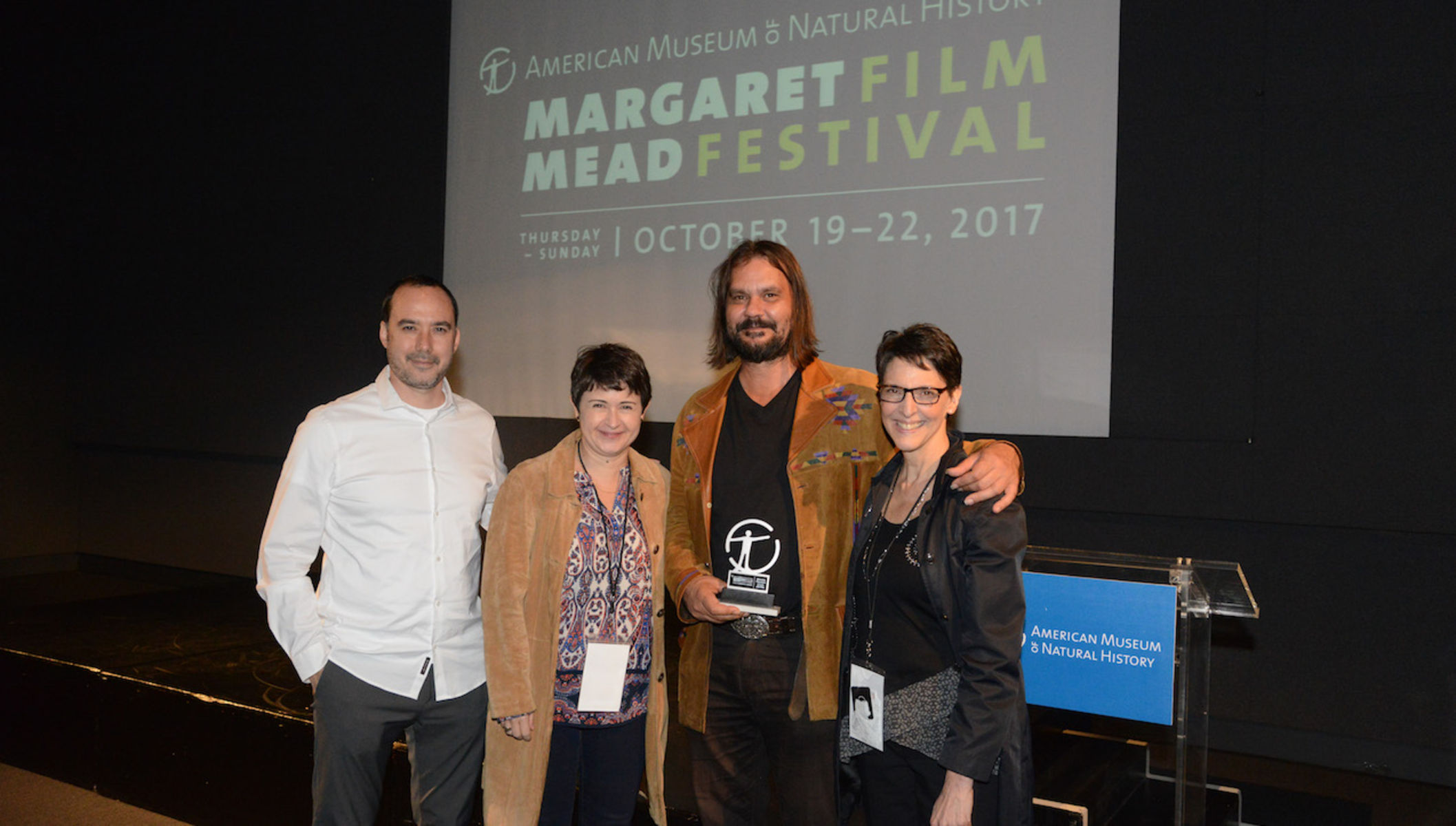 From left to right: Mead juror Andrew Okpeaha MacLean, Mead's granddaughter Sevanne Kassarjian, and Faye Ginsburg, anthropologist and director of NYU