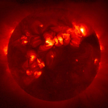 X-RayedAn X-ray photograph of the Sun, revealing emission from gases at 3.3 to 5.6 million °C(6 to 10 million °F).