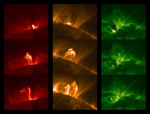 Coronal MotionNothing is static on the Sun, least of all its corona. Each of these three columns of images of magnetically active regions spans only two-and-a-half hours, yet each image looks completely different. These looplike structures repeatedly change position, density and temperature, resulting in a beautiful yet extremely complex and variable atmosphere.