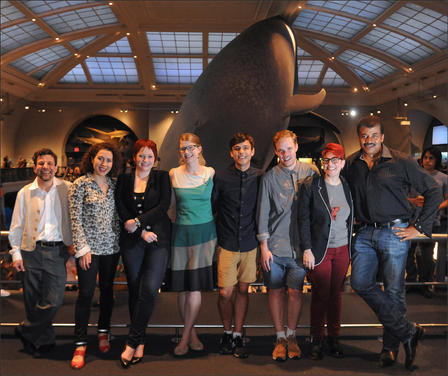 At the Museum, Mordecai-Mark Mac Low, curator of astrophysics; Maria Popova, Brain Pickings; Elise Andrew, IFLS; Emily Graslie, The Brain Scoop; Mitchell Moffitt, AsapSCIENCE; Gregory Brown, AsapSCIENCE; Annalee Newitz, io9; and Neil deGrasse Tyson, the director of the Museum's Hayden Planetarium. All spoke at the IFLSLiveatAMNH event on August 28, 2013. © AMNH/R. Mickens