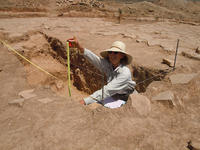 Dr. Elsa Redmond at an excavation site in the Oaxaca Valley, Mexico