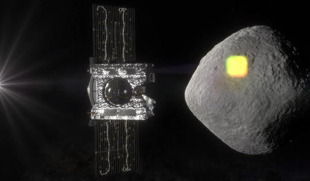 A light source (visible on the left), activates the sensor on OSIRIS-REx (middle), which maps the asteroid (right).