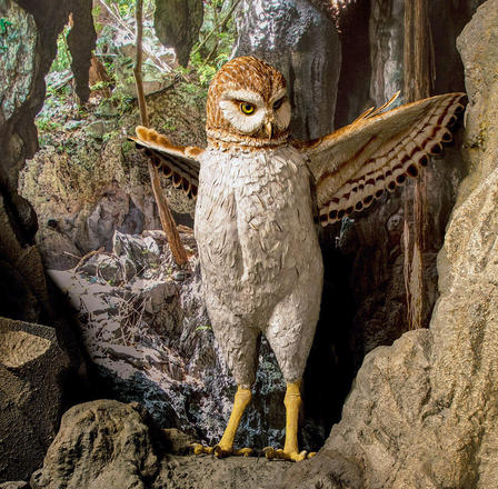 Giant owl model stands with wings spread, displayed in a realistically rendered cave environment.