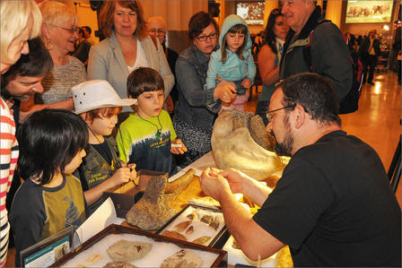 Museum staff member sits at a table surrounded by fossils and examines a specimen presented by two small children.