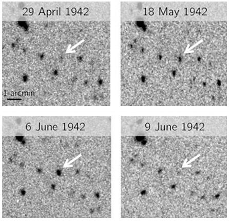 Four images dated from April 29, 1942 to June 9, 1942, show a dwarf nova eruption in space.