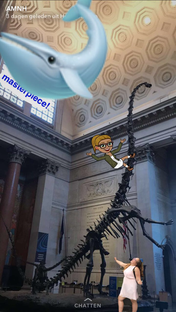 Drawing of a girl and a floating blue whale over a photo of a person standing next to the Museum's Barosaurus skeleton.