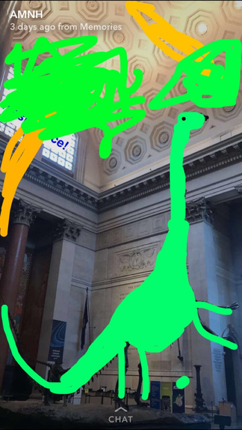 Drawing of a green dinosaur and trees over a photo of the Museum's Barosaurus skeleton.