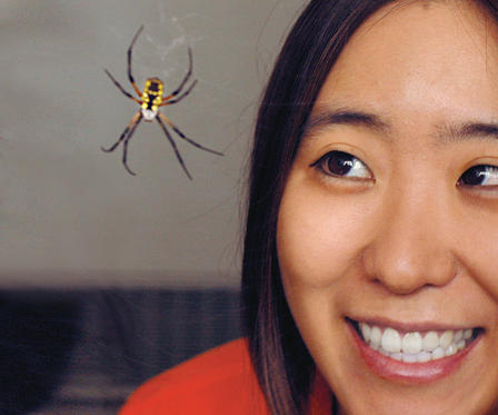 Extreme closeup of Cheryl Hayashi smiling as she looks at a spider on a web, inches from her face.