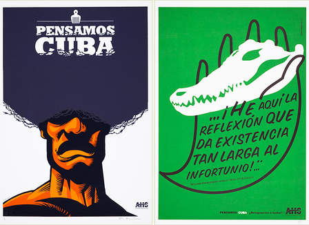 Man with afro hairstyle containing a hair pick and the words Pensamos Cuba (left); cuban crocodile skull held in the outline of a hand (right).