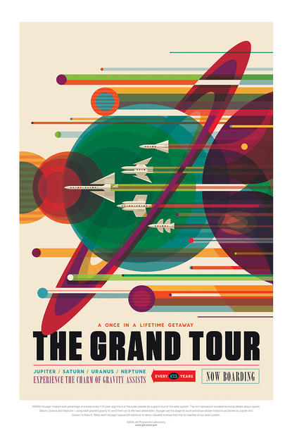 "Multiple rocketships race through the rings of Saturn, surrounded by other planets, text reads ""The Once in a Lifetime Getaway, The Grand Tour""."