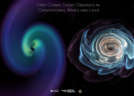 (left) A swirling illustration representative of the distortion of space time; (right) a swirling illustration representative of neutron stars.