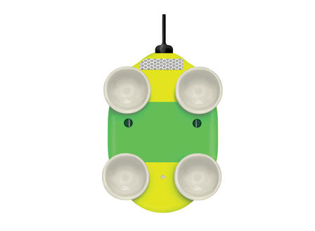 Illustration of the underside of a whale tag, on which four suction cups are mounted.