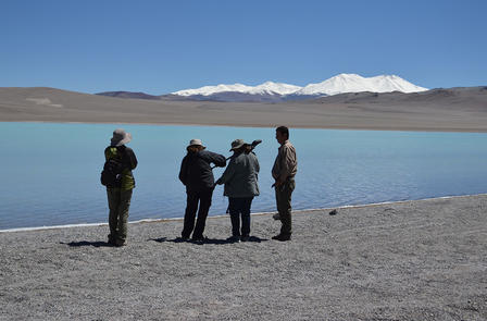 Four people stand near the water's edge to set up equipment.