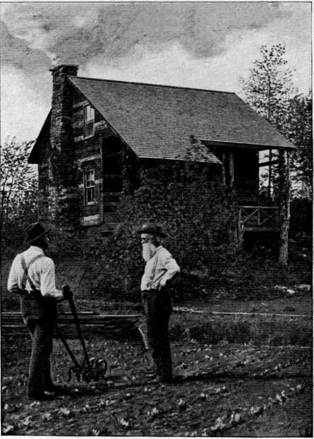 From a book published in 1901, a photograph of John Burroughs's cabin, Slabsides, near the Hudson River in Ulster County, New York Project Gutenberg