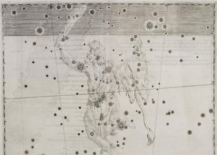 The early star atlas Uranometria depicted constellations such as Orion, above. ©AMNH/D. Finnin