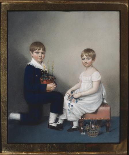 One of six children, young Darwin is painted here with his sister Catherine. Darwin Heirloom's Trust  © English Heritage Photo Library