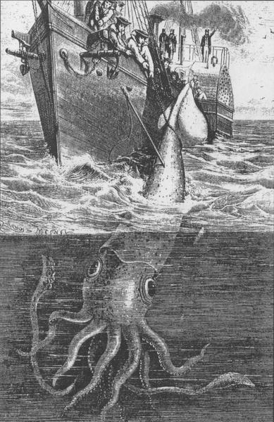 Old Image Ship Giant Squid
