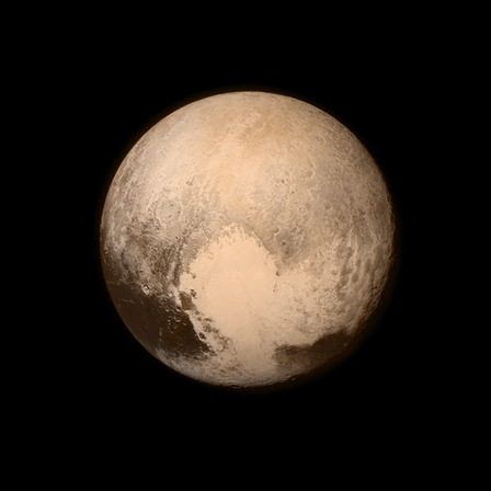A full color, high resolution image of Pluto captured by the New Horizons probe on July 13, 2015, before its closest encounter with the dwarf planet. © NASA