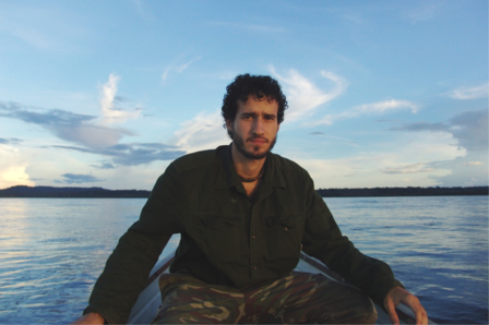 In a boat heading out to the Amazonian forest at dusk.  Photo: Marcelo Sturaro