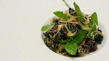 Young dandelion leaves, with beef and clear noodles, in a recipe from Wong's Foraged Flavor © Thomas Schauer