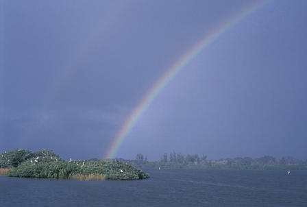 A double rainbow over Pelican Island and water