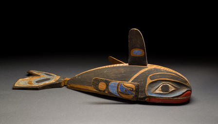 A child might have worn this Kwakwaka'wakw mask in a dance performance, crouching beneath it and bobbing so that the whale seemed to float on the waves. The mask, from the Museum's collections, is now on exhibit in Whales: Giants of the Deep.  © AMNH/D. Finnin