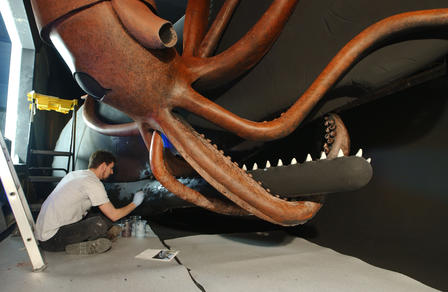 Squid and whale diorama renovation (circa 2003) long view