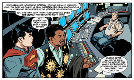 A panel from Action Comics #14, featuring Superman and Neil deGrasse Tyson. © DC Comics