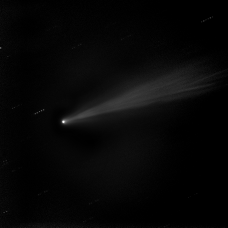 "Taken on Nov. 19, 2013, this image shows a composite ""stacked"" image of C/2012 S1 (ISON). These five stacked images of 10 seconds each were taken with the 20"" Marshall Space Flight Center telescope in New Mexico. This technique allows the comet's sweeping tail to emerge with more detail.         NASA/MSFC/MEO/Cameron McCarty"