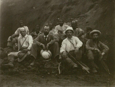 Edmund Hovey, seated second from right in the front row, at Mt. Soufrière volcano in 1902.  ©AMNH Library/ 25129