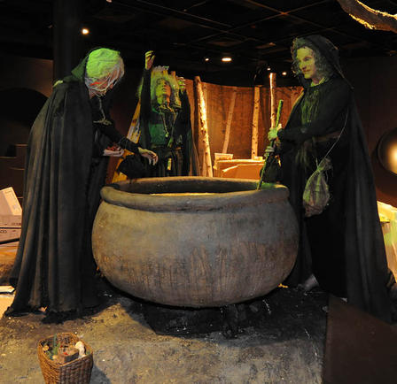 Three witches brew a vile concoction in the upcoming exhibition The Power of Poison.  © AMNH/R. Mickens