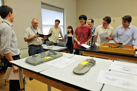 An RGGS course taught by Curator John Maisey; John Denton is second from right (in yellow shirt). © AMNH/D. Finnin