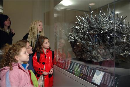 Stibnite with children in Grand Gallery