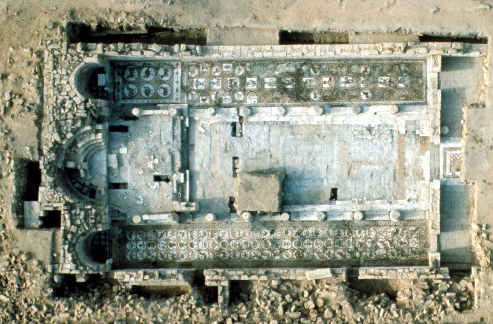 aerial view of the ruins of the Petra church