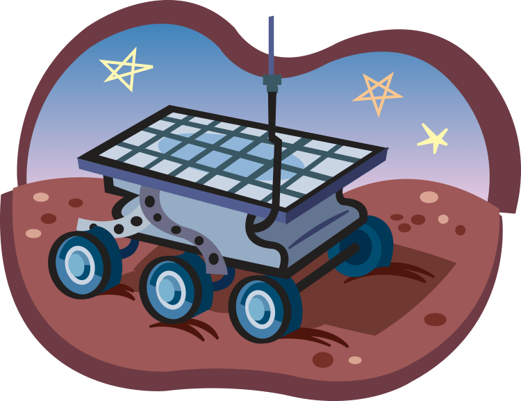 Cartoon illustration of six-wheeled rover on the surface of Mars.