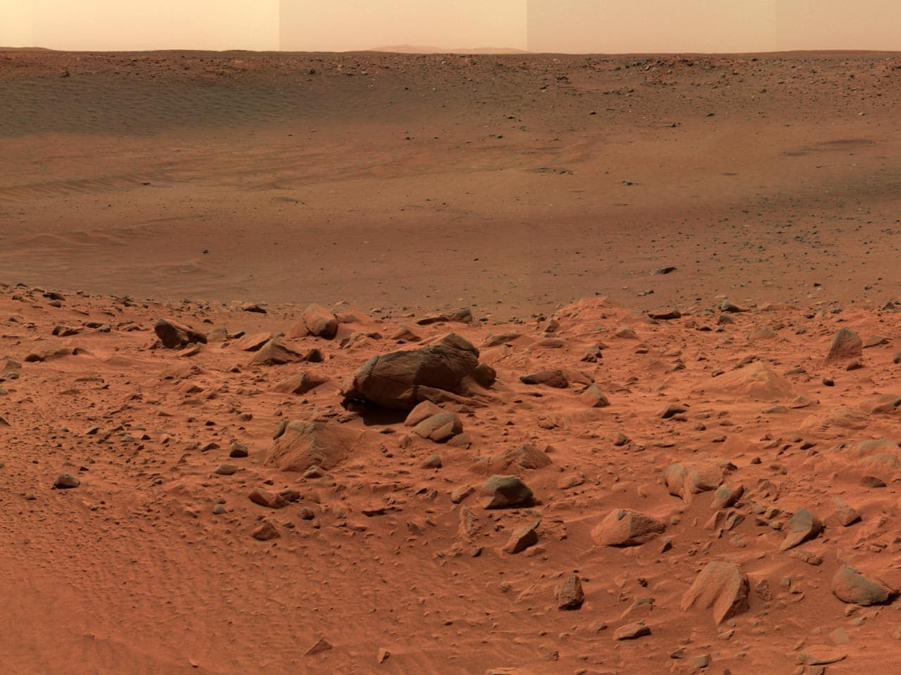 View of the rocky Martian surface from the southern edge of a small crater dubbed Bonneville.