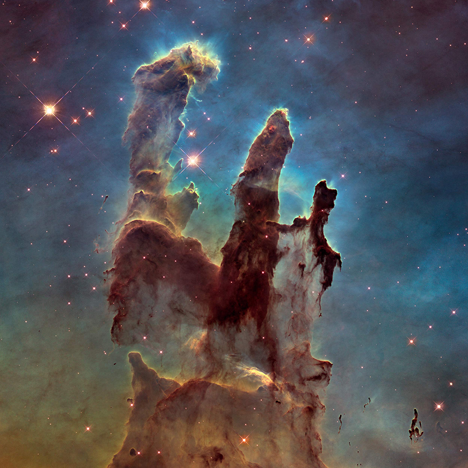 The Eagle Nebula, a young open cluster of stars  in the constellation Serpens.