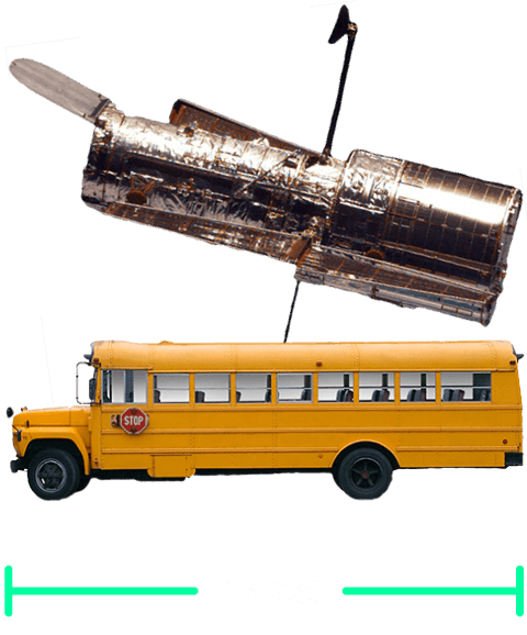 Hubble telescope next to a school bus showing similar size of both