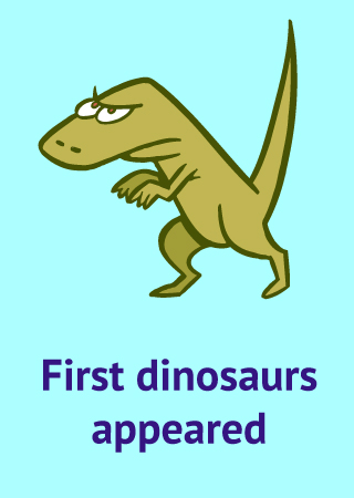 dinosaur icon with text first dinosaurs appeared