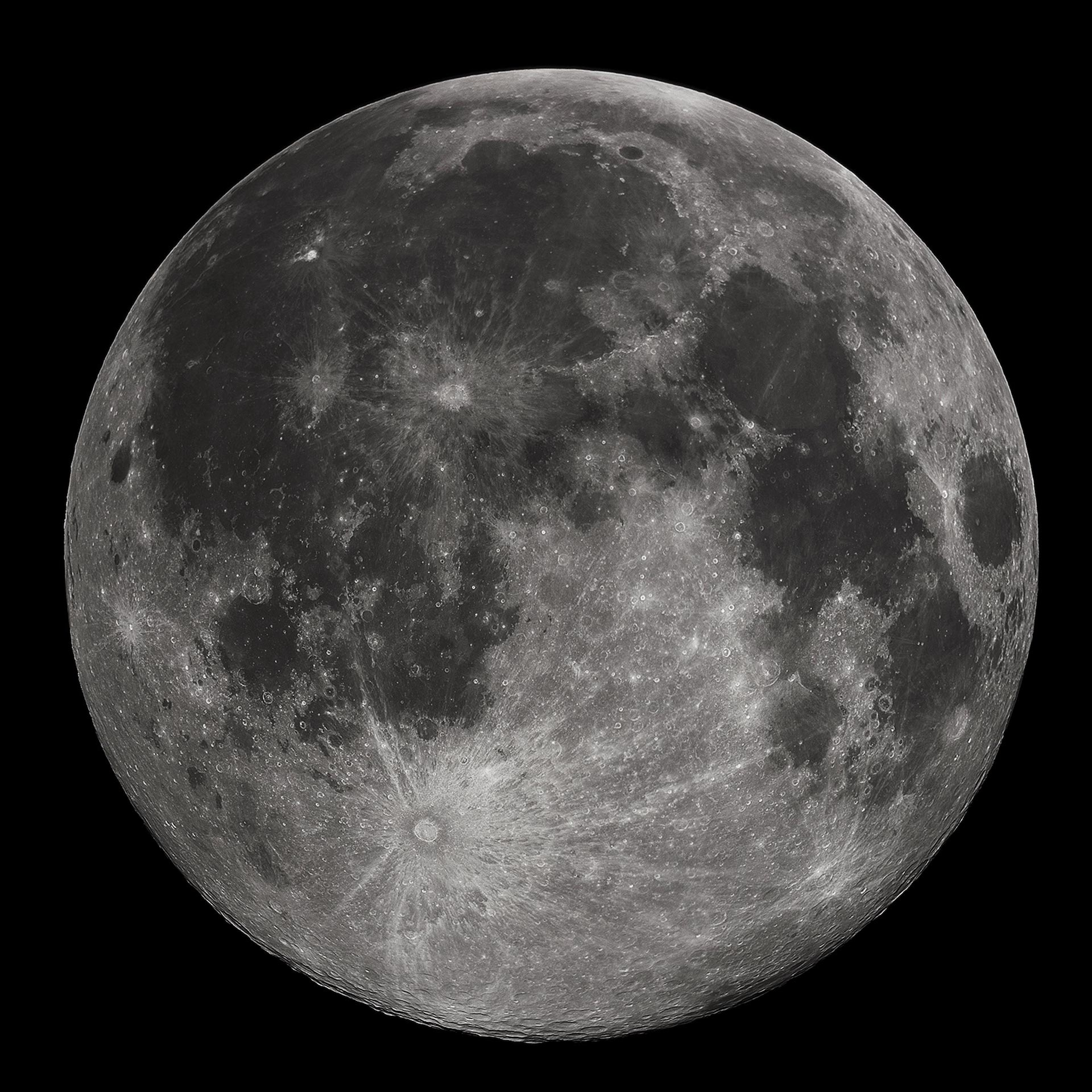 Full moon on black background