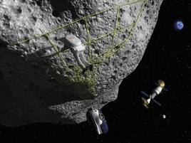 An astronaut works on an asteroid, the Earth, Moon and a space station can be seen afar